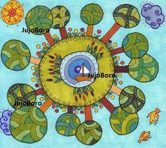 Erdő körben Zentangle, Decoupage, Kids Rugs, Peace, Drawings, Creative, Inspiration, Scrappy Quilts, Mosaic Crosses