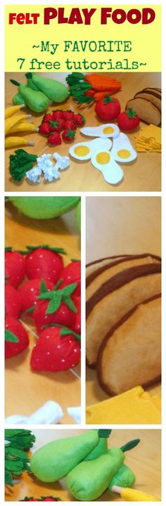 My 7 favorite FREE felt play food TUTORIALS for home-made felt fruit and vegetables.  Banana, carrots, broccoli, strawberries, pear, cheese, eggs and more :)
