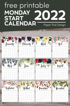 2022 Monday start monthly calendar pages with floral design to print for free. Stay organized at home, the office, or at school. Diy Calendar, Printable Calendar Template, Print Calendar, Calendar Pages, 2021 Calendar, Printable Planner, Free Printables, Calendar Design, Free Calendars To Print