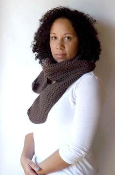Ready to Ship/Handmade/Crochet/Chocolate Brown Scarf by Eyelah, $30.00