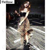 (KRAZY) Leopard Style Close-fitting Long Skirt Chiffon One-piece Dress with Tube