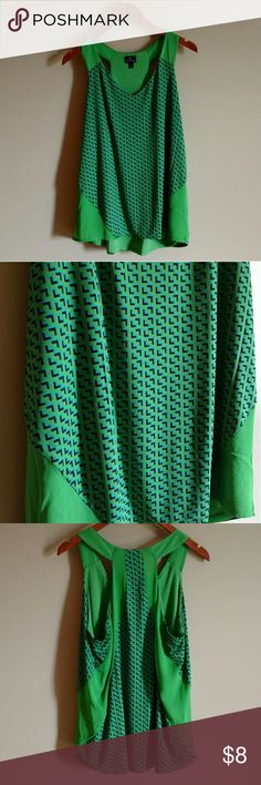 Razor Back Dressy Tank Beautiful green silky feeling tank with navy and aqua blue accents.  Fully lined.  95% polyester 5% spandex.  Never worn, hanging out in the closet. Worthington Tops Tank Tops