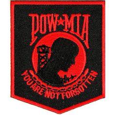 POW MIA Patch Black Red