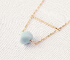 Amazonite  Brass Bar Necklace..i think i could do something similar