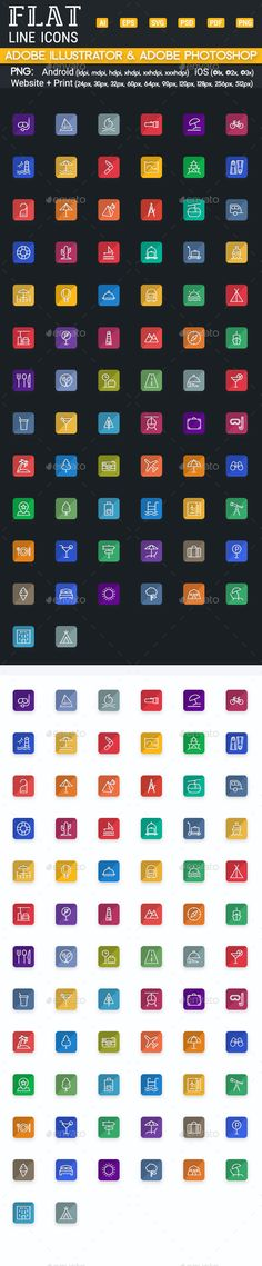 Travel and Tourism Flat Icons - Line Icons