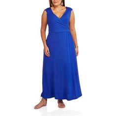 Plus Size Allison Brittney Women's Plus Ruched Maxi Dress, Size: 2XL, Blue