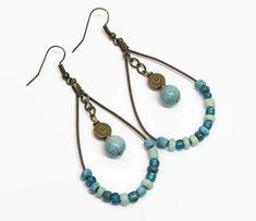 Teal Boho Hoop Earrings Boho Style Hoop Earrings Bohemian