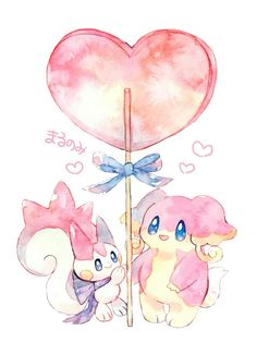 Parchurishu and Audino Pokemon Comics, Pokemon Fan Art, All Pokemon, Cute Pokemon, Pokemon Stuff, Kawaii Chibi, Kawaii Cute, Pokemon Mignon, Pokemon Painting