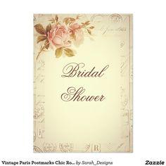 Vintage Paris Postmarks Chic Roses Bridal Shower