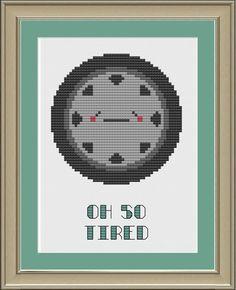 Oh so tired cute tire crossstitch pattern by nerdylittlestitcher, $3.00