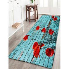 $16.03 Vintage Wood Grain Flower Flannel Bath Mat - Lake Blue - W16 Inch * L47 Inch