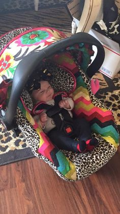 Santa Maria Fancy Floral Damask and Leopard Custom Infant Car Seat Cover by RitzyBabyOriginal