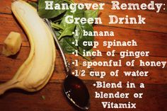 How to cure a hangover with food + foods to eat when you're hung over and a hangover detox green smoothie recipe Green Smoothie Recipes, Healthy Smoothies, Green Smoothies, Hangover Smoothie, Foods To Eat, Natural Health, Detox, Healthy Recipes