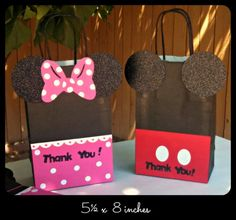 Mickey Mouse Minnie Mouse Goody Bags Candy Bags by LilysPaperParty Fiesta Mickey Mouse, Mickey Mouse Bday, Mickey Mouse Clubhouse Birthday, Minnie Mouse Pink, Mickey Mouse Parties, Mickey Party, Mickey Mouse Birthday, 3rd Birthday Parties, 2nd Birthday
