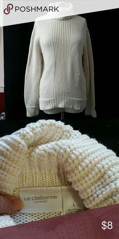 Cream sweater 100% cotton,  long sleeves,  turtleneck knit by Liz Claiborne. Great condition.- Liz Claiborne Sweaters