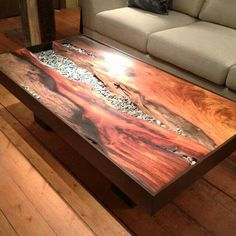 Wood with stone inlay coffee table