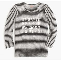 J.Crew Pati De St Barth Striped T-Shirt ($32) ❤ liked on Polyvore featuring tops, t-shirts, tees, striped tees, logo t shirts, loose t shirt, j crew t shirts and linen tee