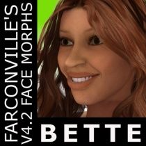 Bette V4 -- $2.99 -- Bette is a meticulously crafted face morph for Victoria 4.2.  V4.2 Base and V4.2 Legacy INJection Slots should be ticked or checked in the Powerloader: Import for DAZ Studio 4.5 to use this product - after this, apply INJ file to V4.2. This can be used also in Poser 7 and up - Load V4.2 Base and apply INJ file. No textures are included, one of a kind face morph is available for purchase at a reasonable price. Any textures can be used with this beautiful morph.