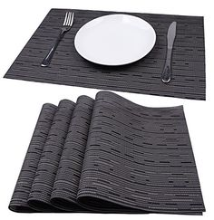Mint Cook Washable Reversible Heat-resistant Placemats for Dining Table, Gray Bamboo Shape, Set of 4 Modern Tabletop, Stone Bowl, White Table Top, Tabletop Accessories, Pvc Material, Table Linens, Bamboo, Outdoor Blanket, Dining Table
