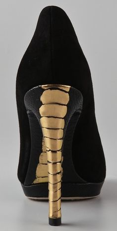 Brian Atwood Black Fredrique Suede 8 Pumps Gold Accents $325 #Shoes #Heels
