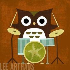 Cute owl drummer print on etsy!!
