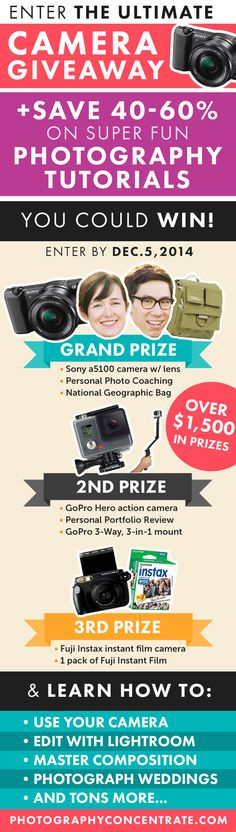 WIN Personal Photography Coaching, a Sony camera, a GoPro & MORE! Ultimate Camera Giveaway!