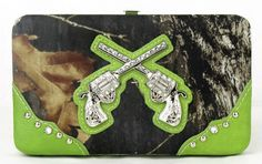 Western Pistol Gun Green Camouflage Clutch Opera Wallet #camo #country #cowgirl #accessories #fashion #popular #womens #style #trendy #handbag #purse #pistol #hunting