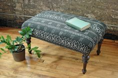 Vintage Ottoman with Black and White by territoryhardgoods on Etsy