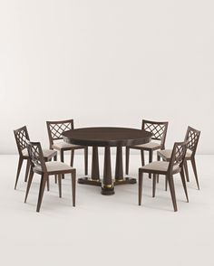 JEAN ROYÈRE Extendable dining table and six 'Croisillon' dining chairs,c 1948