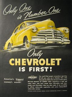 vintage chevy advertisements | 1948 Vintage Chevrolet Chevy Ad ~ One is Number One, Vintage Chevy Ads