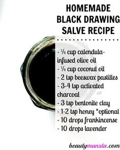Ingredients needed to make this black drawing salve