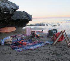 surf camp setup in Santa Cruz