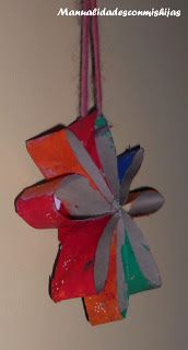 Estrellas, flores... con tubos de cartón. Kids craft. Star, flower.... Toilet Paper