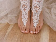 free ship  bridal anklet ivory lace anklet by Theworldofbrides, $28.00