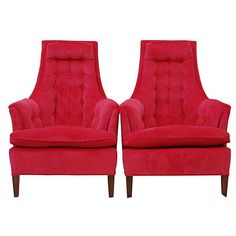 Pre-Owned 1960s High-Back Chairs Pair ($1,599) ❤ liked on Polyvore featuring home, furniture, chairs, tufted armchair, tufted chair, pink furniture, second hand furniture and pink armchair