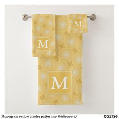 Shop Monogram yellow circles pattern bath towel set created by Personalize it with photos & text or purchase as is! Bath Towel Sets, Circle Pattern, Washing Clothes, Hand Towels, Circles, Print Design, Lemon, Monogram