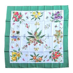 """Gucci Silk Scarf V. Accornero Fruit """"New Old Stock"""" 