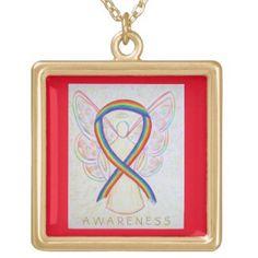 LGBTQ Rainbow Awareness Ribbon Angel Jewelry Necklace