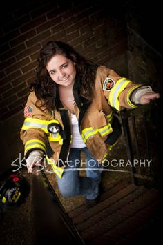 I wanna take senior pictures in my turnout gear! Firefighter Apparel, Firefighter Workout, Firefighter Family, Female Firefighter, Senior Pictures Boys, Senior Photos, Senior Portraits, Firefighter Photography, Senior Photography