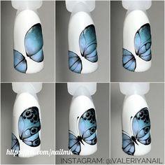 Nail Art Designs Videos, Fingernail Designs, Acrylic Nail Designs, Butterfly Nail Designs, Butterfly Nail Art, Nail Art Hacks, Nail Art Diy, Seashell Nails, Animal Nail Art