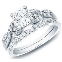 Very beautiful and stylish, the wedding ring set for her showcases round cut diamonds and is set in your choice of gold with options of 10k, 14k and 18k white gold. Description from jewelocean.com. I searched for this on bing.com/images