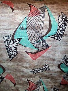Mid century design on barkcloth