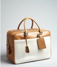 7e2886b0cb9a Prada Caramel And Ivory Leather Large Zip Travel Bag on shopstyle.com  Leather Key Case