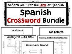 "A ""must have"" for every Spanish teacher! 5 crossword puzzles all in one discounted bundle! Great for SUB plans and early finishers! Includes: Spanish Calendar - 19 days and months, Spanish Greeting and Farewells - 18 expressions, Spanish Class Objects - 20 class objects, Spanish Numbers 1-39 - 16 numbers, Spanish Colors - 11 colors. Fun activity for first year Spanish students or as a review."