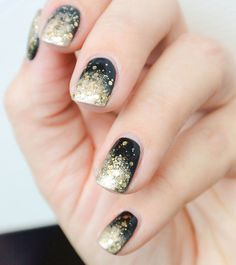 This black and gold glitter mani is perfect for your next party.