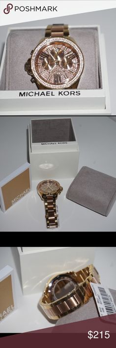 Michael Kors ladies watch NEW! Still has tags! Wren pave chronograph bracelet watch. Gold and rose gold Michael Kors Accessories Watches