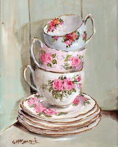 Listo para enmarcar Impresión - 3 tazas de té apiladas - franqueo incluido Worldwide: