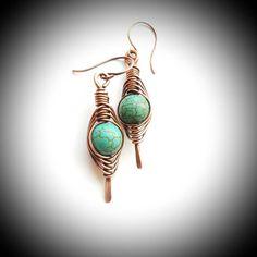 Boho copper earring/wire wrapped earring turquoise/gemstone