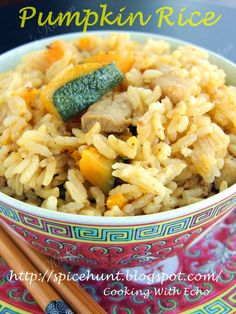 PUMPKIN RICE ==Ingredients== 300-400 gm Kabocha/Japanese Pumpkin, 80 gm of chicken (cubed and marinate with some soy sauce, cooking wine, salt and some corn starch), 1 cup Jasmine rice, 2 cup of water, 6-8 shallots (Sliced) or 1 tbsp of fried shallot,  ==Seasoning== 1 tsp salt (or to taste)====