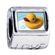 Swimming Rubber Ducky Photo Love Charms  Fit pandora,trollbeads,chamilia,biagi,soufeel and any customized bracelet/necklaces. #Jewelry #Fashion #Silver# handcraft #DIY #Accessory